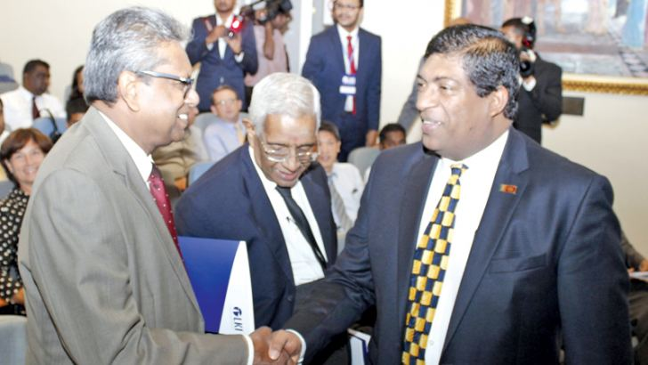 Foreign Minister Ravi Karunanayake at the Sri Lanka's Foreign Policy Forum at the Lakshman Kadirgamar Institute. Picture by Roshan Pitipane
