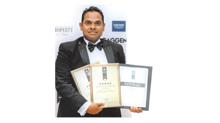 Saranga Wijeyrathne, Director Marketing, Blue Mountain Apartments, with some of the awards at Asia Pacific Property Awards 2017