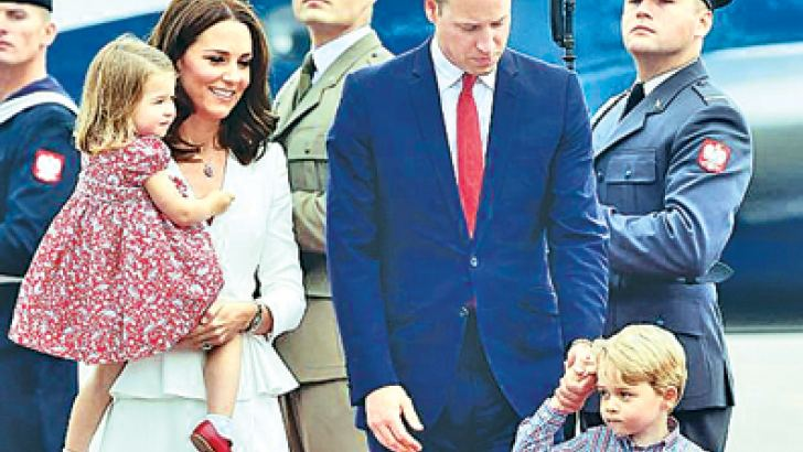 The Duke and Duchess of Cambridge arrive in Warsaw with their children on the first day of their tour of Poland.