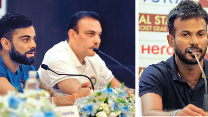 Indian captain Virat Kohli and coach Ravi Shastri at the media conference held at Movenpick Hotel yesterday. Pix by Rukmal Gamage-Sri Lanka one-day captain Upul Tharanga addresses the media