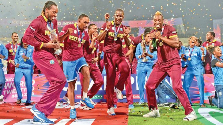 West Indies celebrate winning the 2016 World T20 in India.