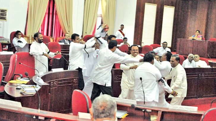 Brawl in the Chamber. Picture by Mahinda P. Liyanage, Galle Central Special Correspondent
