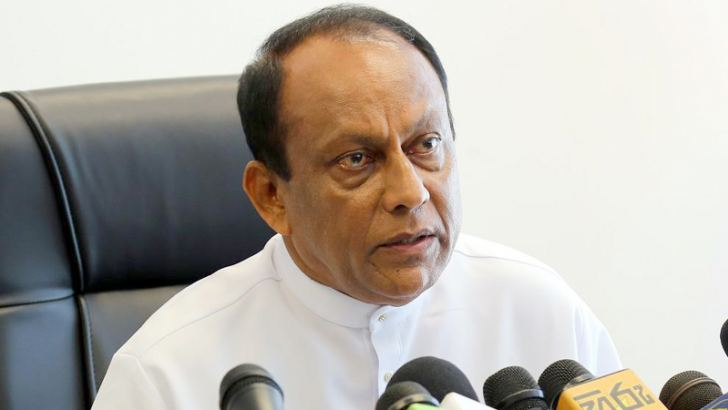 Minister  Abeywardena at the press conference.  Picture by Chinthaka Kumarasinghe