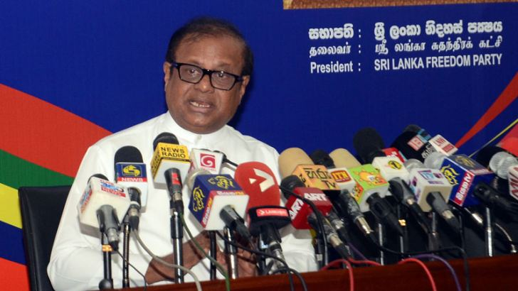 Science and Technology Minister Susil Premajayantha addressing the media. Picture by Wimal Karunathilaka.