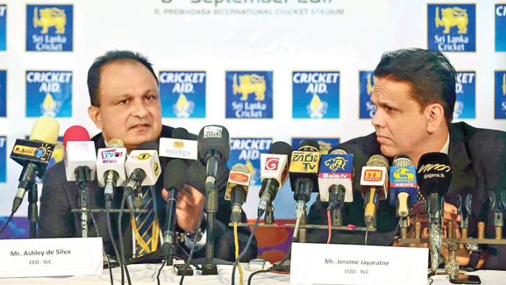 Sri Lanka Cricket CEO Ashley de Silva (left) and Chief Operations Officer Jerome Jayaratne addressing the media at the launch at the Pallekele International Stadium yesterday to announce the charity match between a World XI and Sri Lanka XI.