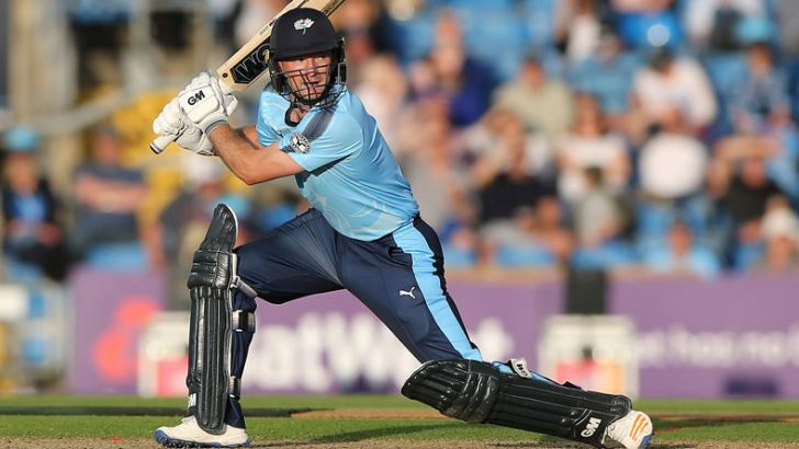 Adam Lyth on his way to the third highest score in Twenty20 cricket smashing 161 for Yorkshire against Northamptonshire at Headingley.