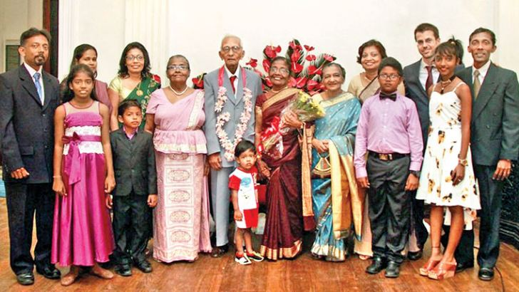 Swarna & Percy celebrating their golden wedding anniversary with children & grand children at Mount Lavinia Hotel