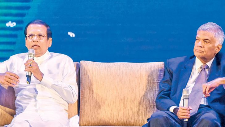 President Maithripala Sirisena and Prime Minister Ranil Wickremesinghe addressing the people at the launch of the Vision 2025 ', the Economic Development Plan of the government, at the BMICH on Monday
