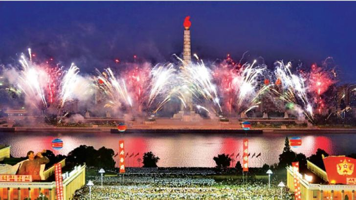Tens of thousands of people gathered in Kim Il-Sung Square for a mass celebration and fireworks display for scientists involved in North Korea's nuclear test. - AFP