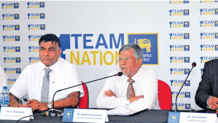 Investigating Committee President Attorney-at-Law Asela Rekawa, Head of Tournament Committee Bandula Dissanayake, SLC Vice President and District Cricket Development President K. Mathivanan and SLC CEO Ashley de Silva at the head table. Picture by Ranjith Asanka
