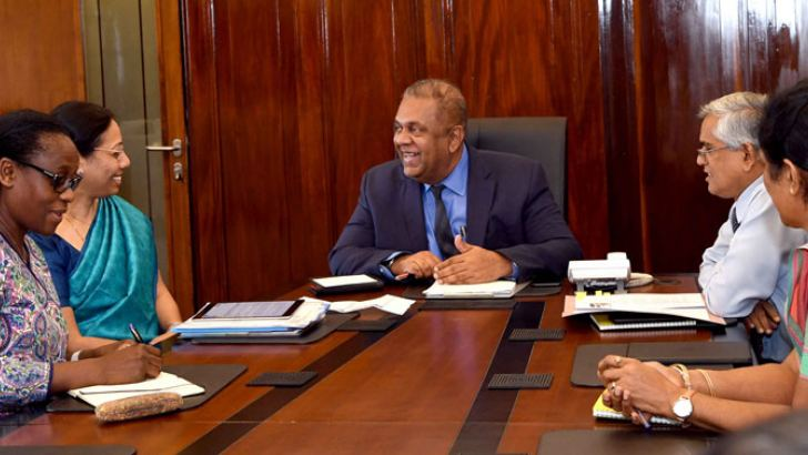 Minister Mangala Samaraweera with World Bank Executive Director S. Aparna and others