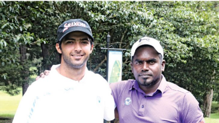 The two finalists, India's Dhruv Sheoran (left) and Sri Lanka's G P Sisira Kumara