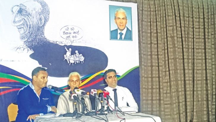 Pradeep Jayewardene addressing the media.