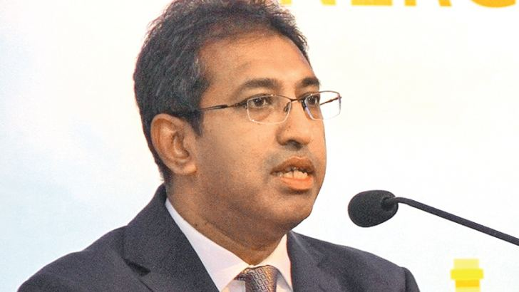 Deputy Minister Harsha De Silva speaking at the (PUCSL) Energy Forum. Picture by Mahinda Vithanachchi