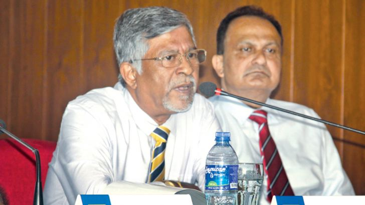 Bandula Dissanayake Chairman of the Tournament committee addressing the media. Also in the picture is Ashley De silva Executive Chief Officer of SLC. Picture by Chaminda Niroshana