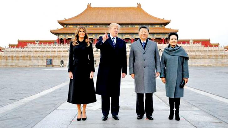 US President Donald Trump, First Lady Melania Trump with Chinese President Xi Jinping and his wife Peng Liyuan as they toured the Forbidden City yesterday.