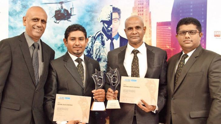 Sadaharitha's NASCO winners Nihal Tissera and Rasika Manatunga flanked by Jayampathi Mirando, Director Sales and Marketing and Janaka Opallage, Brand Manager.
