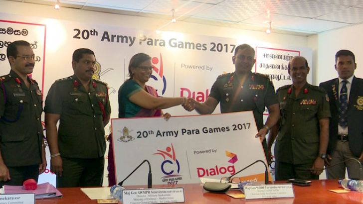 Group Chief marketing officer of Dialog Axiata PLC Amali Nanayakkara (third from left) presenting the sponsorship cheque to Major General W.D.D.P Fernando. Picture by Chaminda Niroshana.
