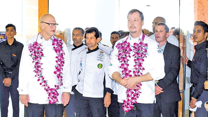 Chef Gert Klotzke (WACS), Dimuthu Kumarasinghe (Chefs Guild of Lanka), Chef Gerard Mendis, (Chefs Guild of Lanka), Master Chef Tapio Laine (Finland Culinary Olympics Team) and   Steven Bradie-Miles (WAISL) at the opening