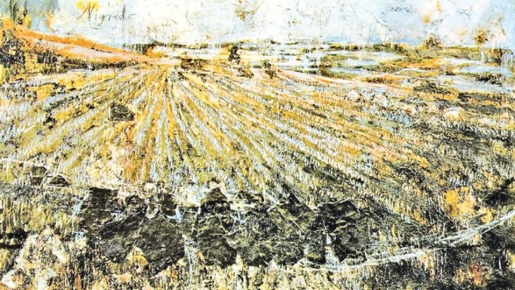 Anselm Kiefer, Nigredo, 1984, oil, acrylic, emulsion, shellac, and straw on photograph and woodcut, mounted on canvas.