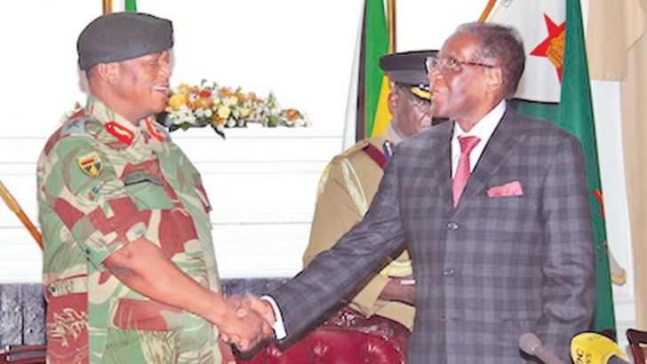 Robert Mugabe meeting Army Generals at State House on Monday.