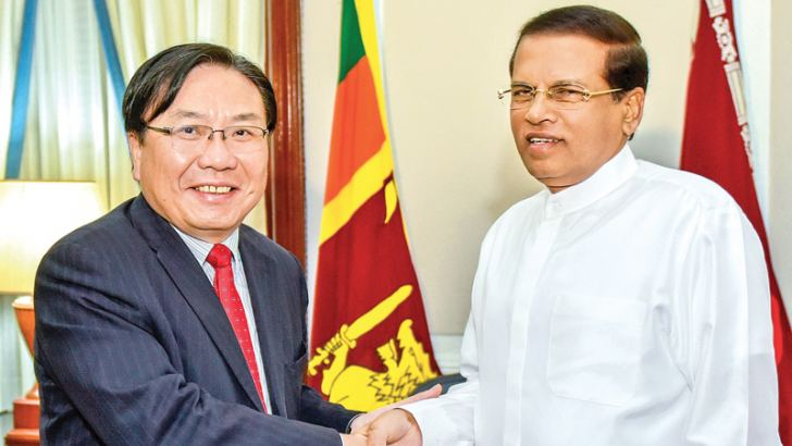 ADB Vice President Wencai Zhang called on President Maithripala Sirisena at the Presidential Secretariat yesterday. Picture by Kapila Ariyawansa, President's Media Division