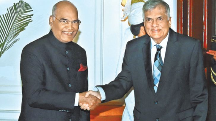 Prime Minister Ranil Wickremesinghe met Indian President Ram Nath Kovind at Rashtapathi Bhavan in New Delhi on Thursday. (Picture courtesy Prime Minister's Media Division)