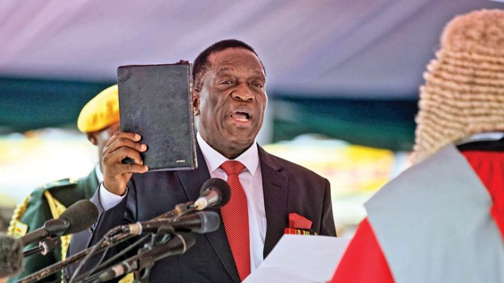 Zimbabwe's new President Emmerson Mnangagwa being sworn-in.