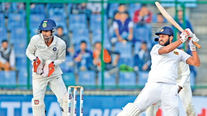 Roshen Silva plays a stroke during his unbeaten half century made on his Test debut.