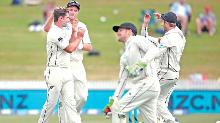 Colin de Grandhomme of New Zealand celebrates the wicket of Roston Chase from the West Indies during day two of the second Test cricket match between New Zealand and the West Indies at Seddon Park in Hamilton -AFP