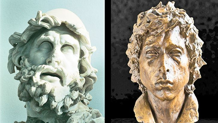 Left: Head of Ulysses, a Roman copy after a Hellenistic sculpture; Right: bronze sculpture of Bob Dylan by Lesley Pover