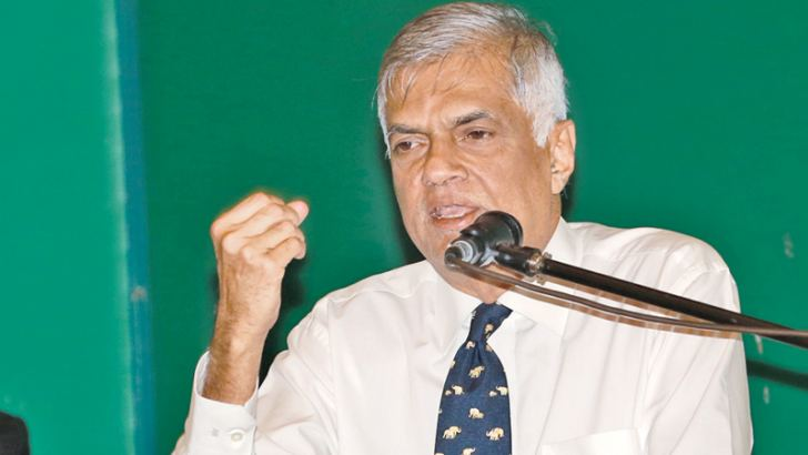 Prime Minister Ranil Wickremesinghe addressing the Kotte Electorate UNP Central Organisation  at 'Sirikotha' UNP Headquarters. (Picture courtesy: Prime Minister's Media Division)