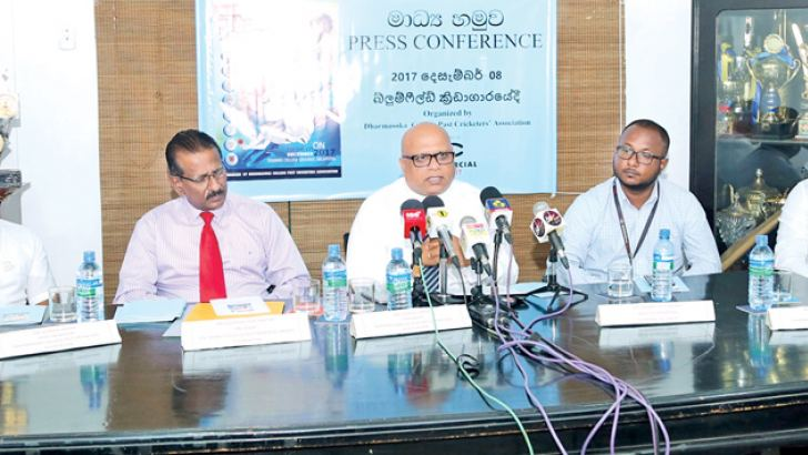 The President of the Dharmasoka College Past Cricketers Association Gavesh Ginige (third from left) addressing the media regarding the Olcott Memorial Cricket Tournament. Also in the picture are from left Chief Organiser of the event Asoka Kumara, President of Olcott Memorial Cricket Foundation Jayantha Seneviratne, Head of Marketing of Commercial Credit Shammi Jayathilake, Secretary of Dharmasoka College Past Cricketers Association Chathuran Sanjeewa. Picture by Shan Rambukwella