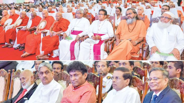 A Religious Co-existence Convention organised by the National  Co-existence Dialogue and Official Languages Ministry was held at the  BMICH yesterday under the patronage of President Maithripala Sirisena.  Mahanayake of the Amarapura Maha Nikaya Most Ven. Kotugoda Dhammawasa Thera,  Lekakadhikari of the Malwatta Chapter Ven. Pahamune Sumangala Thera,  Lekakadhikari of the Asgiriya Chapter Ven. Medagama Dhammananda Thera,  Hindu,Christian and Islamic religious leaders and Ministers Mano Ganeshan,  Sarath Fo