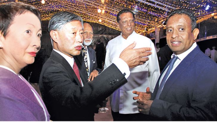 Ministers Chandima Weerakkodi and John Amarathunga with the Japanese Ambassador