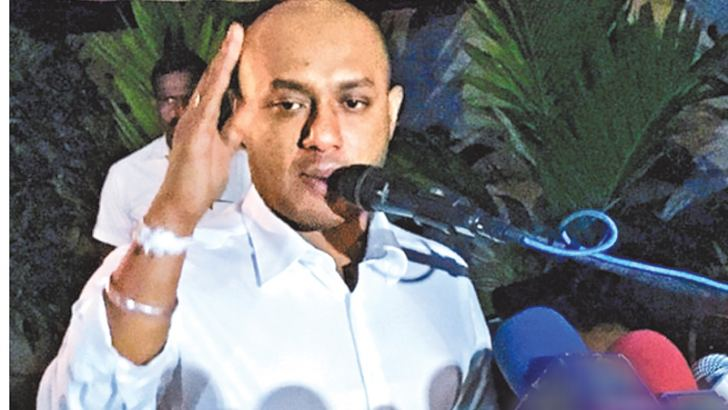 SLFP General Secretary  Duminda Dissanayake addressing the Medawachchiya election meeting.