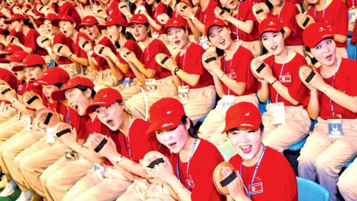 North Korean cheerleaders.