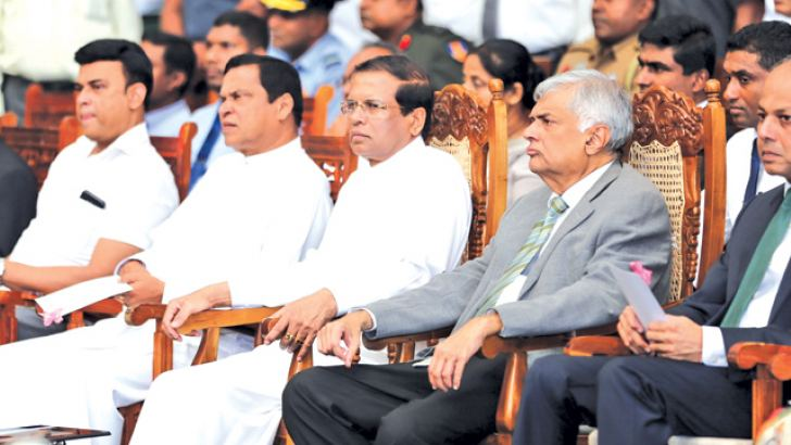 President Maithripala Sirisena, Prime Minister Ranil Wickremesinghe, Law and Order Minister Sagala Rathnayake, Law and Order State Minister Piyasena Gamage and Deputy Social Empowerment and Welfare Minister Ranjan Ramanayake observing the cocaine being destroyed.