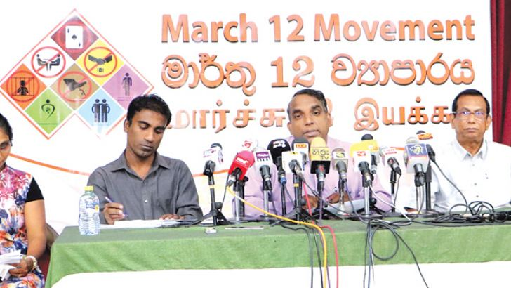 People's Action for Free and Fair Election (PAFFREL) Executive Director Rohana Hettiarachchi and officials addressing the press conference.  Picture by Saman Sri Wedage