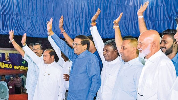 Western Province Chief Minister Isura Devapriya, Ministers Susil  Premajayantha, Mahinda Amaraweera, A.H.M.Fowzie, Avissawella electorate  SLFP organizer Sumith Wijeyamuni at the rally held in Kosgama yesterday. (Pictures by President's Media Division)
