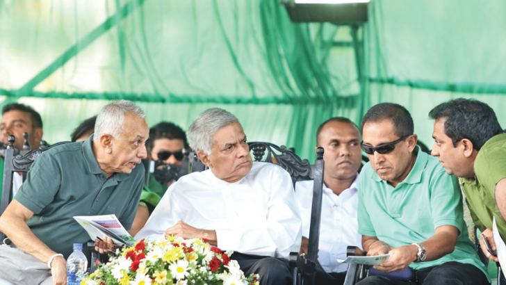 UNP Chairman Minister Malik Samarawickrema, General Secretary Minister Kabir Hashim, Ministers Lakshman Kiriella, Akila Viraj Kariyawasam, Gamini Jayawickrema Perera, Rajitha Senaratne, Rauff Hakeem and other leaders at the United National Party's maiden rally to support local government candidates held at the Municipal grounds in Kandy.