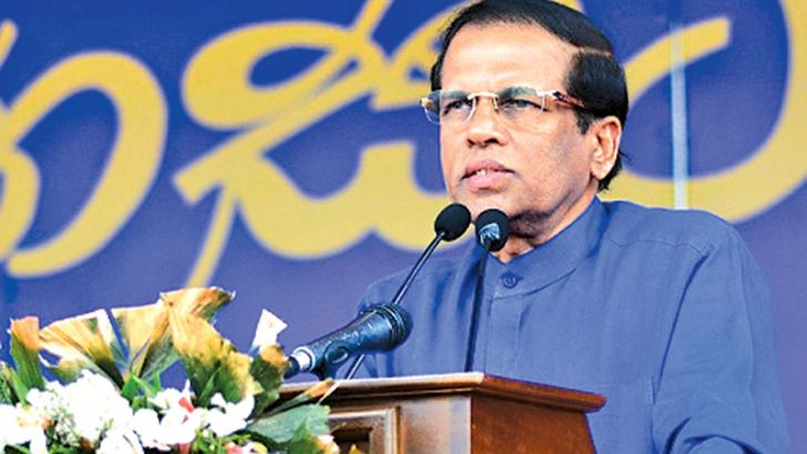 President Maithripala Sirisena addressing the rally. Picture by Sudath Malaweera