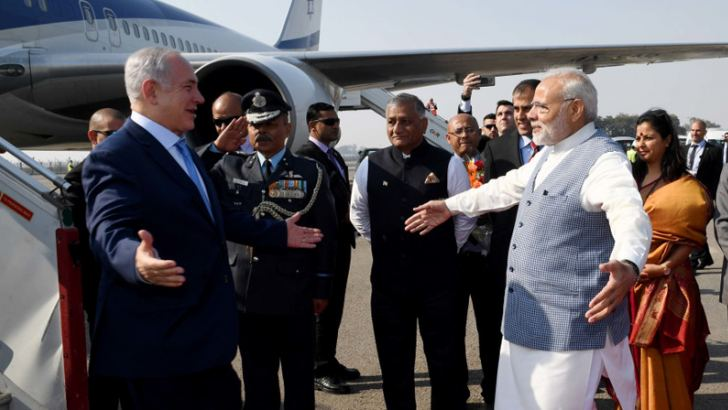 Israel Prime Minister Benjamin Netanyahu is greeted with a hug by Indian Prime Minister Narendra Modi upon arrival in India last week.
