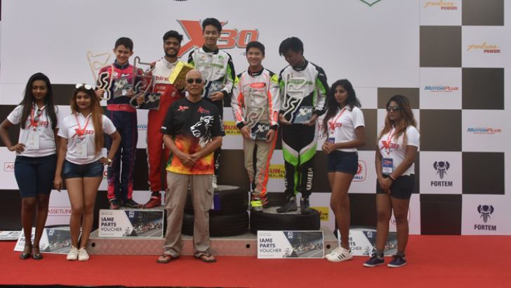 Winners of the Senior category race on podium
