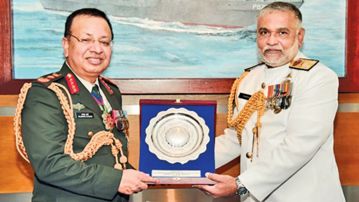 Nepal Army COAS General Rajendra Chhetri was presented a memento by Navy Commander Vice Admiral  Sirimevan Ranasinghe at the Naval Headquarters in Colombo, last Friday.