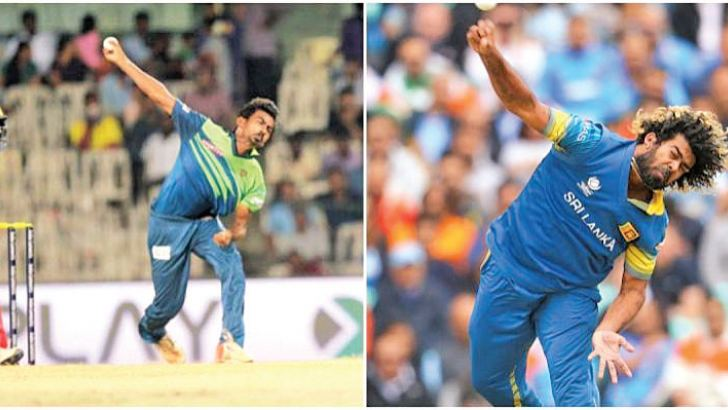 Athiyasayaraj Davidson (on left) and Lasith Malinga similar bowling actions.