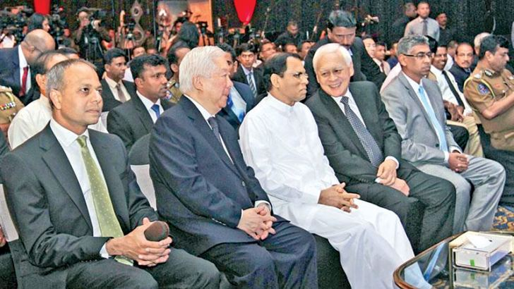Prima Management Services (Pvt) Ltd, a member of the Prima Group of Companies, partnered with the leaders in the field of security surveillance to present the latest cutting-edge security surveillance solutions, specifically developed for premier public and private authorities and organisations at a symposium at the Hilton Colombo held in November 2016. Here President Maithripala Sirisena, with Group Chairman and CEO of Prima, Primus Cheng Chih Kwong and  Group General Manager Prima Tan Beng Chuan.