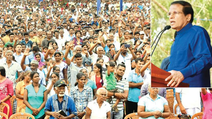 President Maithripala Sirisena addressing a United People's Freedom Alliance (UPFA) rally at Anamaduwa yesterday. Pictures by Sudath Silva