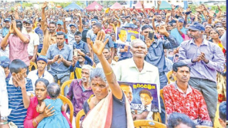 President Maithripala Sirisena addressing large crowds at an election rally held in Thalawakelle yesterday.Pictures by President's Media Division