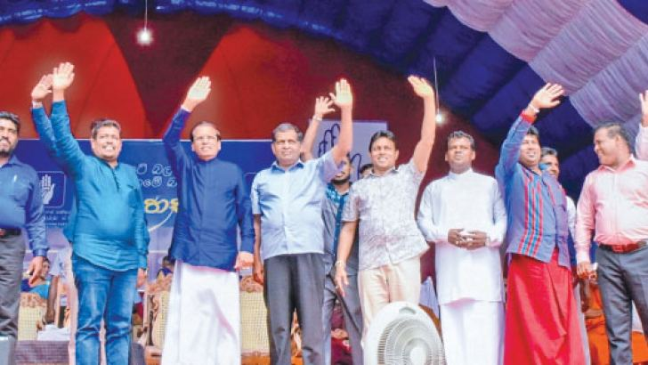 President Maithripala Sirisena waving to the crowd. Picture by President's Media.